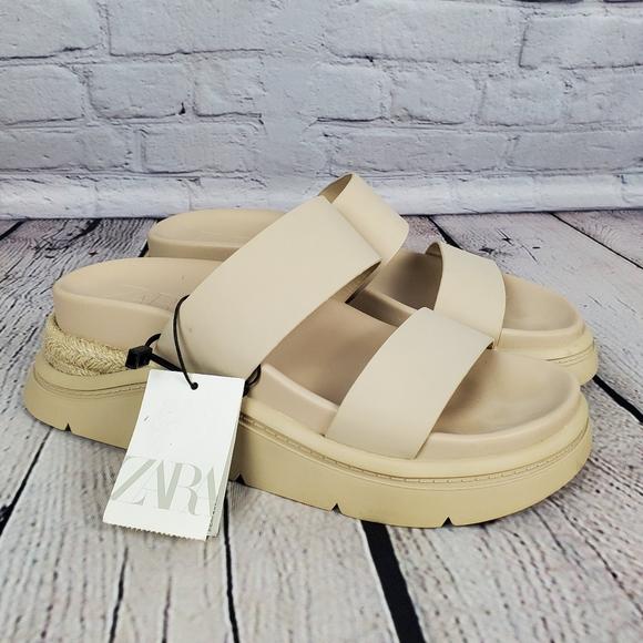 NWT Zara Ecru Chunky Sport Sandal Sz 40
